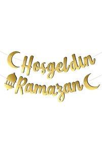 Hoş geldin Ramazan Yazılı Kaligrafi Banner Gold Renkli 200x30 Cm Ramazan Bayramı Altın Renginde Süs