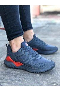 Unisex Füme Kırmızı Sneaker Spor Ayakkabı Takax0132