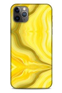 Mermer Desenli (11) Tema Tam Koruma Sarı Apple Iphone 11 Pro Max Kılıf