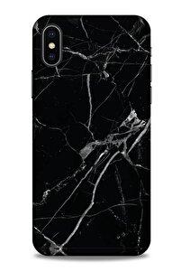 Mermer Desenli (17) Tema Tasarım Kılıf Siyah Iphone X Uyumlu Kılıf