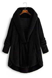 Yeni Model Kadın Ceket Yaka Wellsoft Pelerin Model Hırka (siyah)