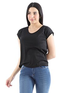 Kadın Simli Pamuklu Kısa Kollu Siyah T-shirt