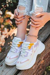 Feym Beyaz Cilt Lila Detaylı Spor Ayakkabı