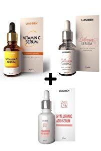 C Vitamini + Kolajen Serum + Hyalorünik Asit 3'lü Set