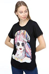 Kadın Siyah Taşlı Baskılı Ince Detaylı Zincir Ve Taş Işlemeli Pamuklu Frida T-shirt