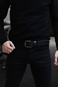 Erkek Siyah Hakiki Deri Kot Pantolon Kemeri