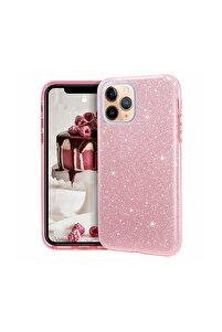 Iphone 11 Pro Max Parlak Simli Rose Silikon Telefon Kılıfı