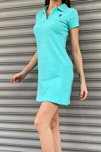 Tavşan Nakışlı Yazlık Elbise Mint