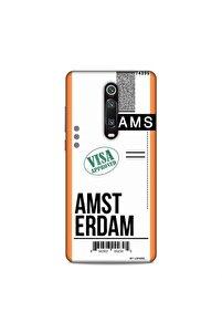 Xiaomi Mi 9t  Uçak Bileti Amsterdam Arka Koruma Desenli Full Koruyucu Kılıf