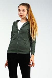 Haki Kapişonlu Cepli Fermuarlı Uzun Kollu Kadın Sweatshirt