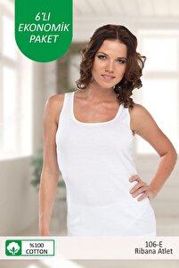 Beyaz E Serisi 4'lü Paket 106 - E Kadın Ribana Cotton Kalın Askılı Atlet