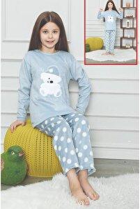 Yeni Trend Ayıcıklı Tay Tüyü Peluşlu Kız Çocuk Pijama Takımı