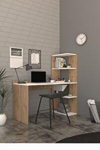 Ladin Raflı Kitaplıklı Çalışma -ofis - Laptop - Bilgisayar Masası 120 Cm Sepet-beyaz