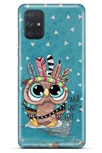 Animax Mavi Kızılderili Baykuş Samsung Galaxy M51 Kılıf Desenli Silikon
