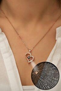100 Dilde Seni Seviyorum Yazılı 925 Ayar Gümüş Rose Gold Kaplama Kolye