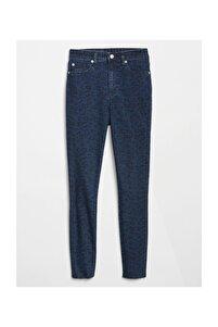 Yüksek Belli Desenli Legging Denim Pantolon