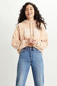 Kadın Krem Kapüşonlu Sweatshirt - 85280-0023