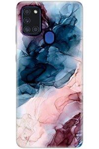 Samsung Galaxy A21s Uyumlu Desenli Kılıf + Nano Esnek Temperli Ekran Koruyucu