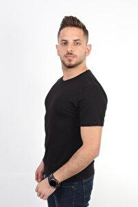 Erkek Basic Pamuklu Kısa Kollu Bisiklet Yaka Slim Fit T-shirt