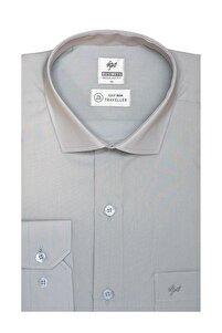 Erkek A.gri Regularfıt / Rahat Kalıp 7 Cm Klasik Gömlek