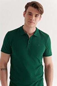 Erkek Yeşil Polo Yaka Düz T-shirt  A11b1146
