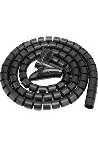 Spiral Kablo Kanalı Kablo Düzenleyici Toplayıcı Tutucu Siyah 1.5m