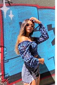 Kadın Desenli Crop Top Bluz Mavi