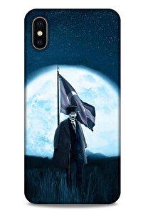 Iphone Xs Max Uyumlu  Kılıf Atatürk (45) Liquid Air Kılıf Ay Işığı