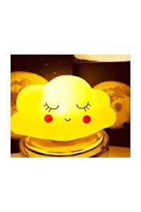 Sarı Dekoratif 3d Bulut Tasarımlı Led Işıklı Gece Lambası
