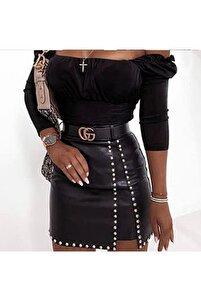 Kadın Siyah Mini Deri Etek