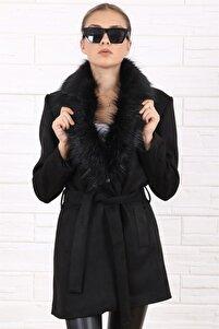 Kadın Şal Yaka Kürklü Süet Kuşaklı Siyah Kaban