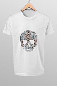 Erkek Beyaz Kuru Kafa Baskılı T-shirt