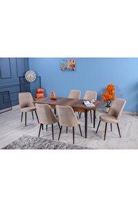 Kayra Yemek Masa Takımı 6  Sandalyeli- Krem