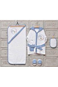 Yeni Koleksiyon Erkek Bebek Havlu Bornoz Seti 10030019