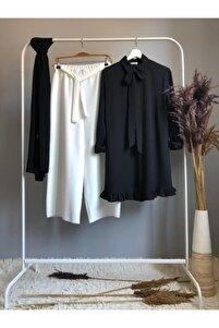 Kadın Siyah Kurdele Ve Fırfır Detaylı Tunik Ve Pantolon Takım