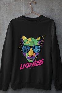 Liones Unisex Sweatshirt Pamuklu Siyah