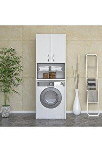 Çamaşır Makinesi Dolabı Banyo Dolabı Raflı Kapaklı Dolap