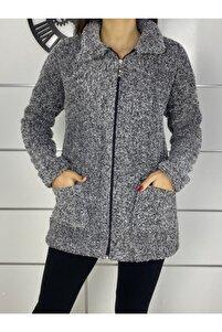 Yeni Model Kadın Gri Fermuarlı Peluş Ceket