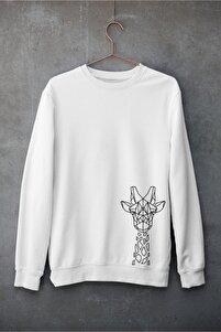 Giraffe Line Unisex Sweatshirt Pamuklu Bisiklet Yaka Beyaz