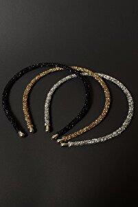 Siyah, Altın Ve Gümüş Renk Kristal Kadın 3'lü Işıltılı Günlük Kullanıma Uygun Taç Seti