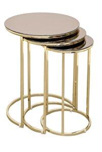 Pukka 3'lü Aynalı Zigon Sehpa Takımı Gold Ayak (Bronz Ayna)