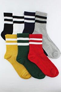 7'li Paket Beyaz Çizgili Renkli Yarım Konç Erkek Çorap