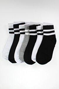 7'li Paket Pamuklu Renkli Çizgili Yarım Konç Erkek - Kadın Çorap