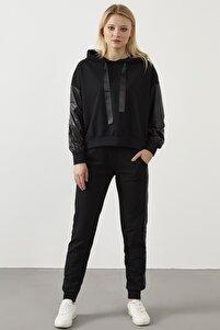 Yeni Model Kadın Yanları Parlak Garnili Ikili Spor Takım ( Siyah )