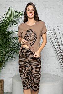 Kadın Vizon Renkli Zebra Baskılı Kısa Kollu Kapri Alt Üst Pijama Takımı 20099