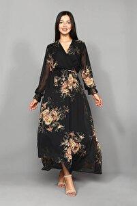 Siyah Çiçekli Şifon Uzun Büyük Beden Elbise