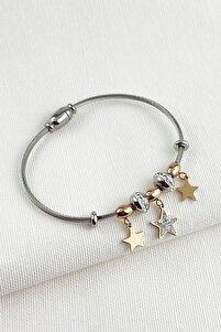 Çelik Zirkon Taşlı Yıldız Mıknatıslı Bayan Bileklik Trbilek7411 B36503