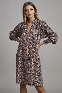 Kadın Leopar Desen V Yaka Salaş Elbise