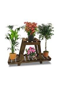 Kahverengi Çiçeklik Ahşap Saksı Standı