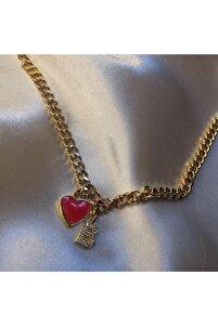 Kırmızı Kalp Kolye B Harfli
